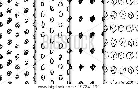 Abstract geometric seamless hand drawn pattern set. Modern free hand textures. Monochrome geometric doodle backgrounds. Semless backdrops.