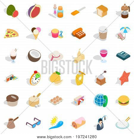 Dessert icons set. Isometric style of 36 dessert vector icons for web isolated on white background