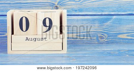 Vintage Photo, August 9Th. Date Of 9 August On Wooden Cube Calendar