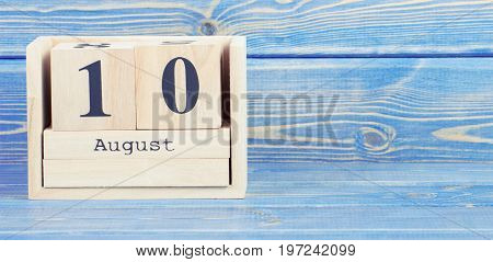 Vintage Photo, August 10Th. Date Of 10 August On Wooden Cube Calendar