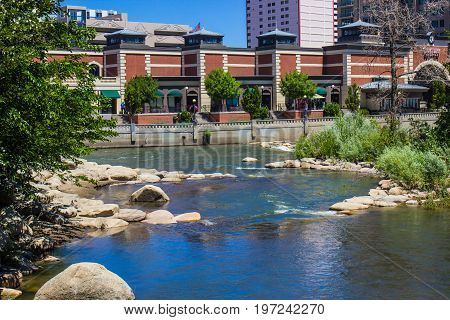 Truckee River At River Walk In Reno, Nevada