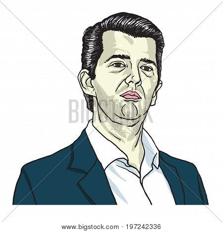 Donald Trump Jr Cartoon Vector Illustration. July 28, 2017