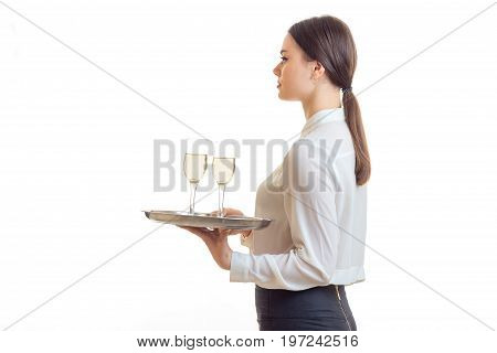 woman waitress with trey in hands wears a unifrom isolated on white background