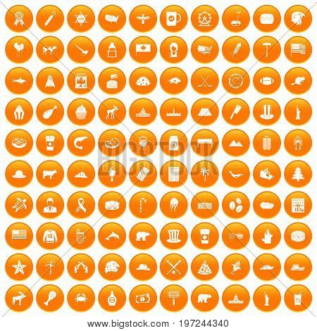 100 North America icons set in orange circle isolated on white vector illustration