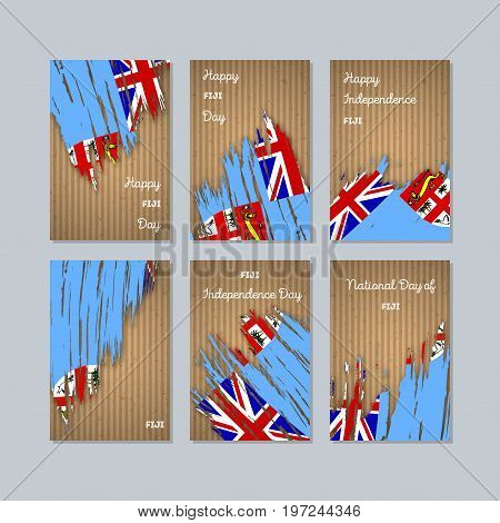 Fiji Patriotic Cards For National Day. Expressive Brush Stroke In National Flag Colors On Kraft Pape