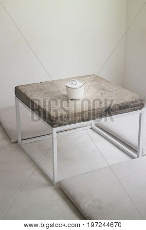 Minimal styled with concrete table top stock photo