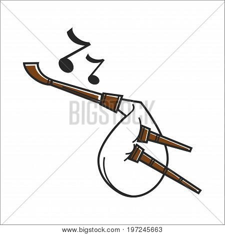 Vector illustration of white and brown colored bagpipe music instrument.