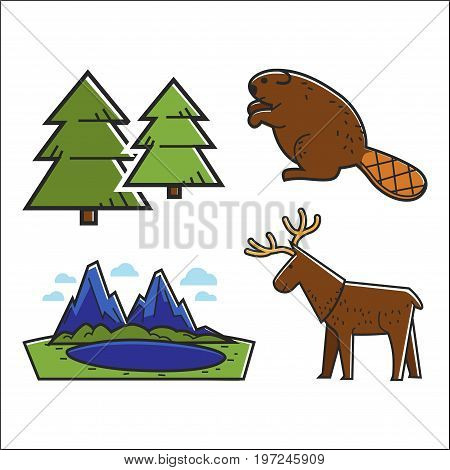 Vector illustration of lake and forest with deer and beaver sset.
