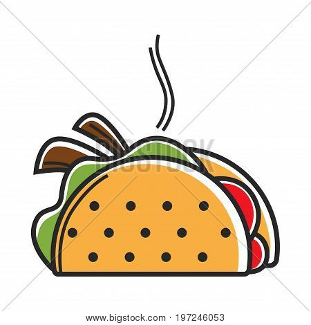 Hot taco isolated vector illustration. Traditional dish of Mexican cuisine that consists of corn or wheat tortilla filled with tasty meat or seafood, overcooked beans, ripe vegetables, stewed cactus.