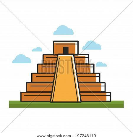 Ancient mayan pyramid on green grass under sky with clouds isolated vector illustration on white background. Stepped construction with temple on top. Historical part of old Mesoamerican architecture.