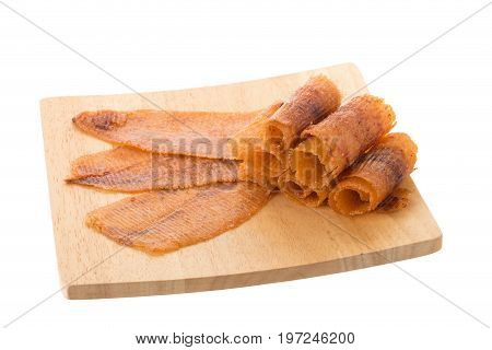 Spicy Crispy Squid Isolated White Background, Squid Mashed Crispy Snack And Spicy Souvenirs From The