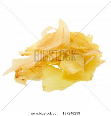 Durian Chips Fried Snack Fruit, Durian Crispy Fruit Chips Isolated On White Background