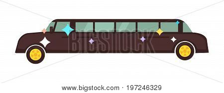 Long disco limousine that shines with yellow disks on wheels isolated on white background. Luxurious vehicle for spectacular appearance at party. Expensive car cartoon flat vector illustration.