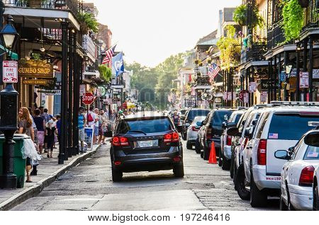 New Orleans, Usa - July 8, 2015: Old Town Buildings And Street With Car In Downtown