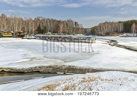Spring landscape. The Separate river ( a tributary of the Ob river ) in Novosibirsk oblast Siberia Russia