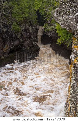 Hidden Falls of the Temperance River in northern Minnesota USA