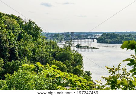 Skyline or cityscape of Hull in Gatineau Quebec with river and bridges in Ottawa Canada