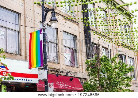 Montreal, Canada - May 26, 2017: Sainte Catherine Street In Montreal's Gay Village In Quebec Region
