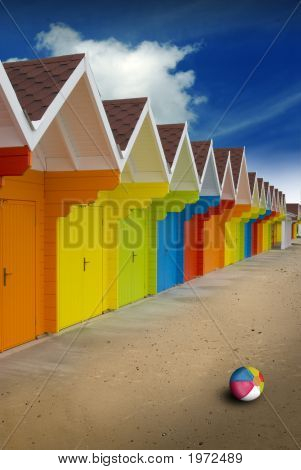 Bright Colored Beach Huts