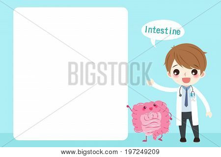 cartoon doctor with intestine on the blue background