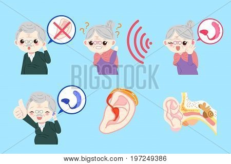 old people with ear problem on the blue background