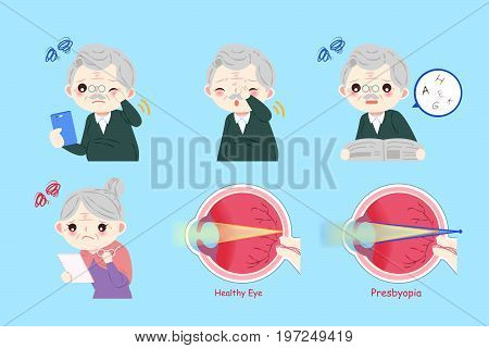 old people with eye health concept on the blue background