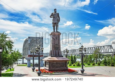 Novosibirsk Siberia Russia - July 17 2017: the Monument to Russian Emperor Alexander III on the embankment of the river Ob