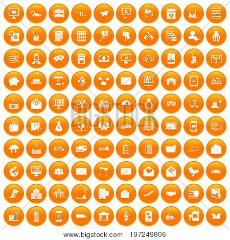 100 postal service icons set in orange circle isolated on white vector illustration