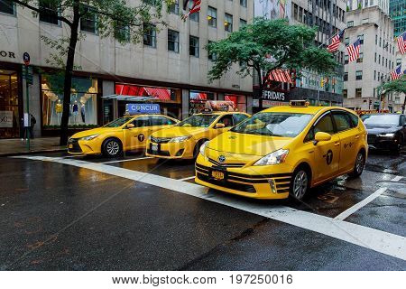 New York - July 2017: The New York City Taxi In New York City. Taxicabs With Their Distinctive Yello