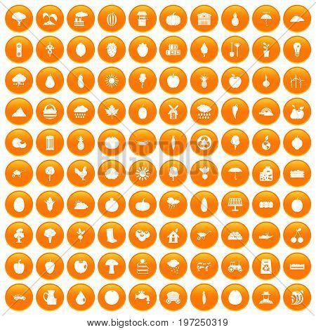 100 productiveness icons set in orange circle isolated on white vector illustration