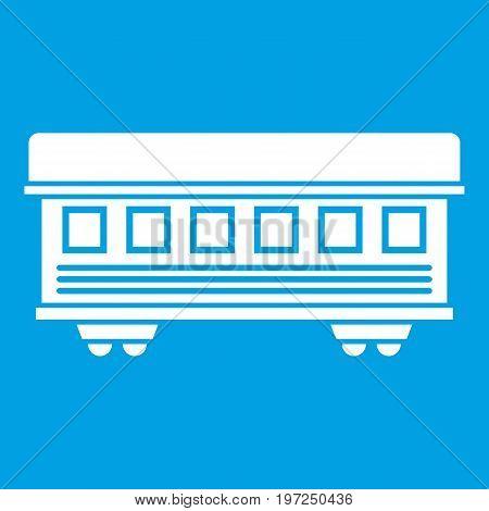 Passenger train car icon white isolated on blue background vector illustration