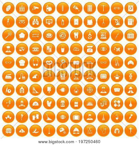 100 profession icons set in orange circle isolated on white vector illustration