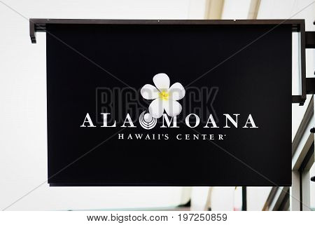 Honolulu Hawaii - May 25 2016: Ala Moana Shopping Center Sign at the Ala Moana Center commonly known simply as Ala Moana is the largest shopping mall in Hawaii.