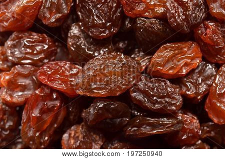Brown raisin pile, a select focus close up photo image on surface of brown raisin in a pile present a detail of texture and pattern on brown raisin pile surface, can use for a texture or pattern back ground