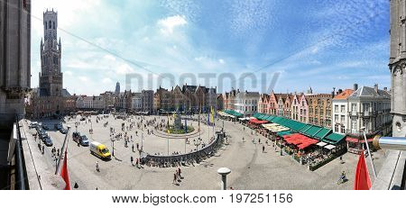 Bruges, Belgium - July 7, 2017: Panoramic View Of The Market Square In The Center Of Bruges, Flander