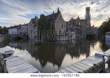 Bruges, Belgium - July 7, 2017: Scenery With Water Canal In Bruges,