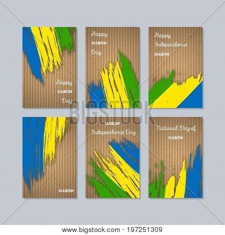 Gabon Patriotic Cards For National Day. Expressive Brush Stroke In National Flag Colors On Kraft Pap