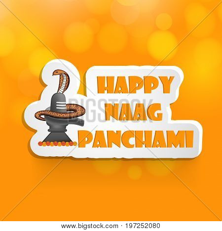 illustration of shilving and snake on the occasion with Happy Naag Panchami text on the occasion of Hindu Festival Naag Panchami