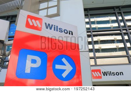 BRISBANE AUSTRALIA - JULY 9, 2017: Wilson car park sign. Wilson is a car park management company firstly opened for business in Perth operating worldwide.