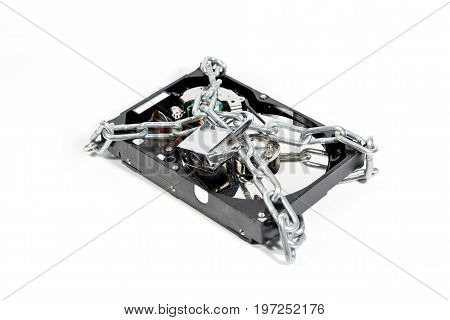 Hard disk file locked isolated on white background. Ransomware cyber attack concept for internet security article
