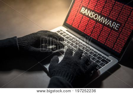 Male hacker hand hacking into computer operating system. Internet security malware virus Trojan ransomware system breached concept