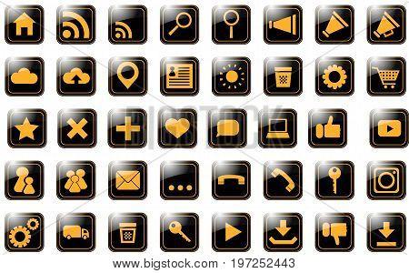 icon site orange on black pictograms 40 pieces