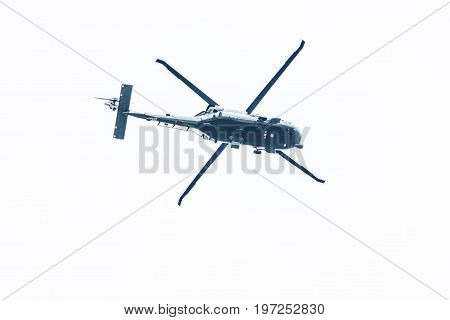 Washington Dc, Usa - March 17, 2017: Three Presidential Helicopters Flying Isolated Against Cloudy S