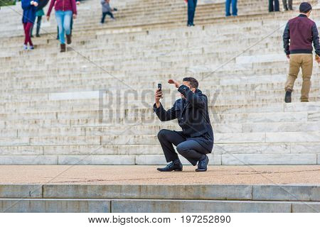 Washington Dc, Usa - March 17, 2017: Many People Walking Around Thomas Jefferson Memorial Stairs In