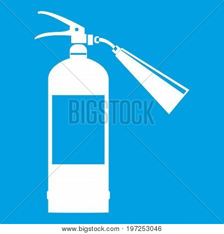 Fire extinguisher icon white isolated on blue background vector illustration