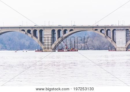 Washington Dc, Usa - March 20, 2017: Closeup Of Potomac River Key Bridge With Construction