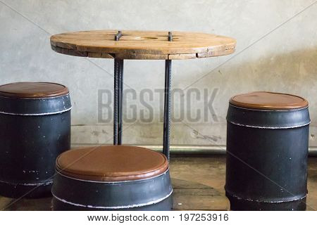 Retro styled furniture set in the coffee shop stock photo