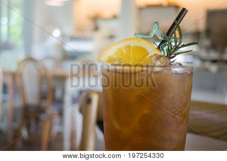 Glass of iced lemon tea stock photo