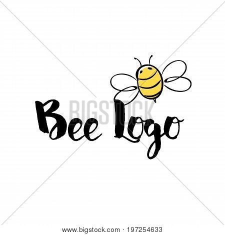 Handdrawn Bee icon with text. Logotype for business. Honey Producer Logo. Vector illustration.