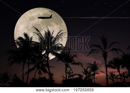 Dramatic atmosphere and most romantic beautiful night sky clouds and stars.Image of full moon furnished by NASA.